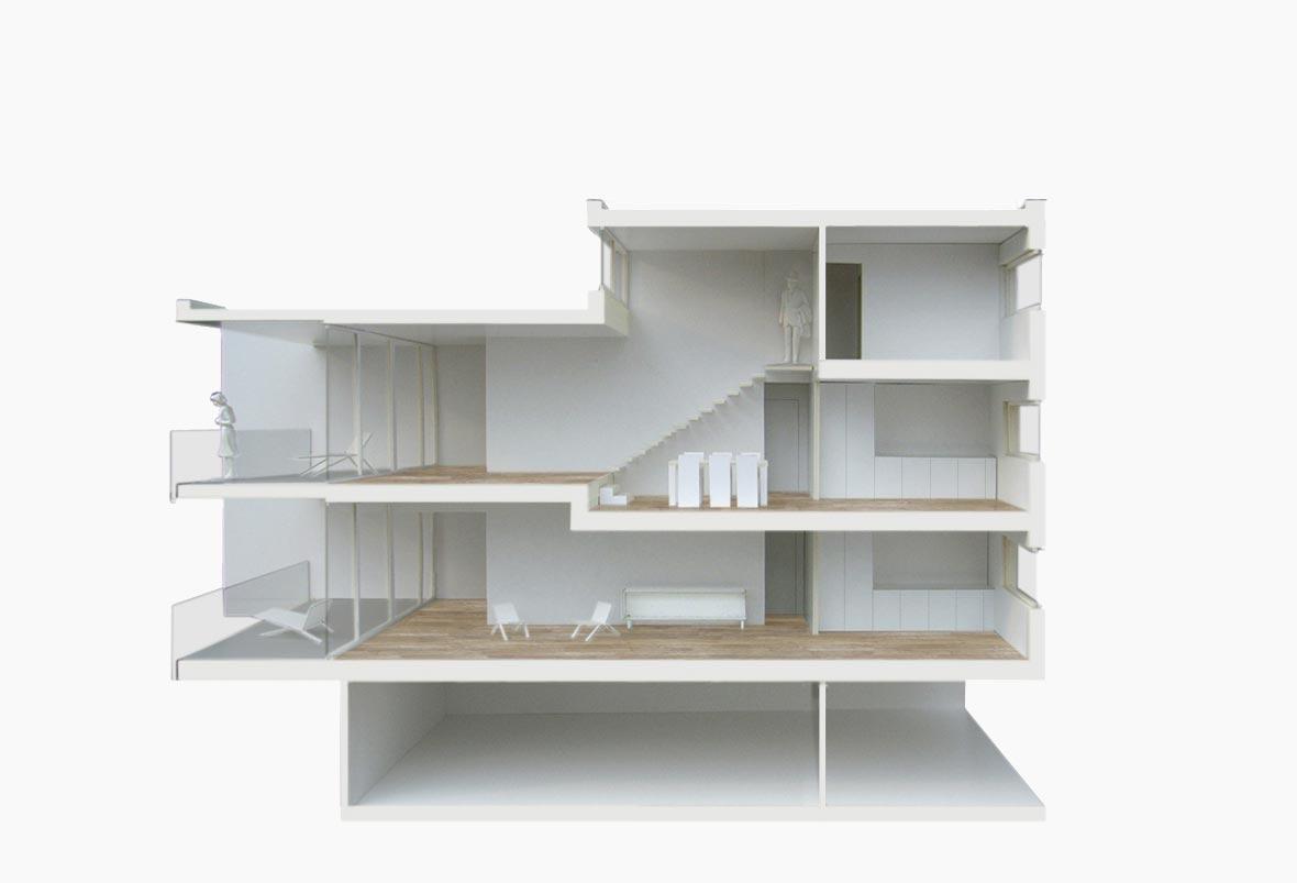 schnittmodell wohnen pool architekten z rich. Black Bedroom Furniture Sets. Home Design Ideas