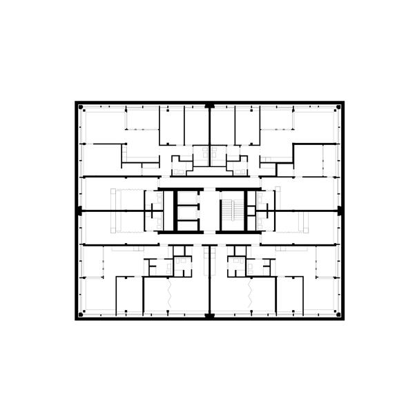 14. bis 19. Obergeschoss, Wohnen